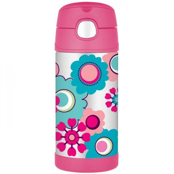 Thermos FUNtainer - detská termoska so slamkou - kvety 355 ml 7dcd1178083