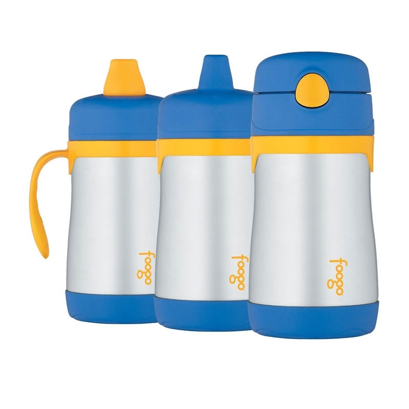 Thermos Foogo - kojenecká termoska s 3 druhmi pitítok - modrá 290 ml 0255cf18973