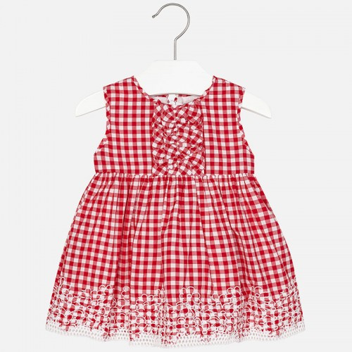 Mayoral 01963614 Gingham embroidered dress Red