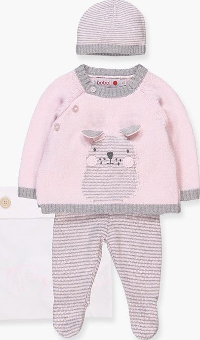 Boboli 17104005-3000 Pack knitwear for girl contains 3 pieces and a cloth bag. S
