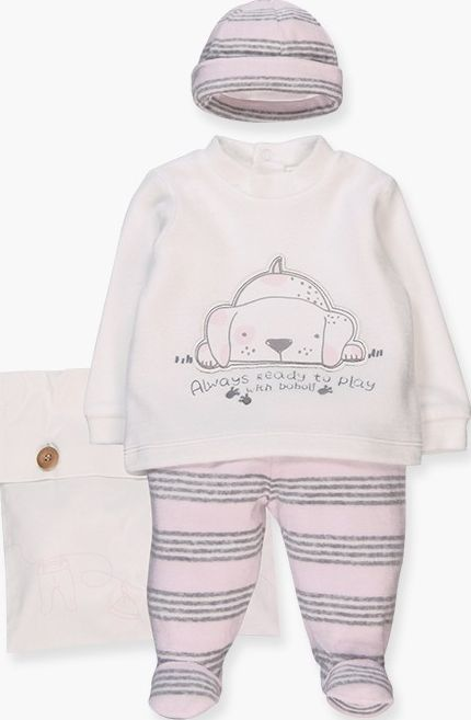 Boboli 17104027-9532 Pack velour for girl contains 3 pieces and a cloth bag. Str