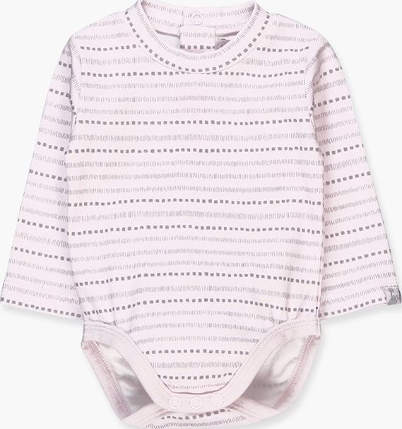 Boboli 17104038-9528 Interlock bodysuit for girl in pink and grey stripes with b