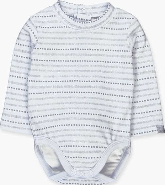 Boboli 17104038-9529 Interlock bodysuit for boy in sky blue and grey stripes wit