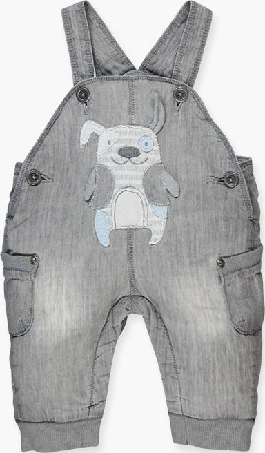Boboli 17104049-GREY Denim dungarees for boy in grey, lined in knit, it closes w