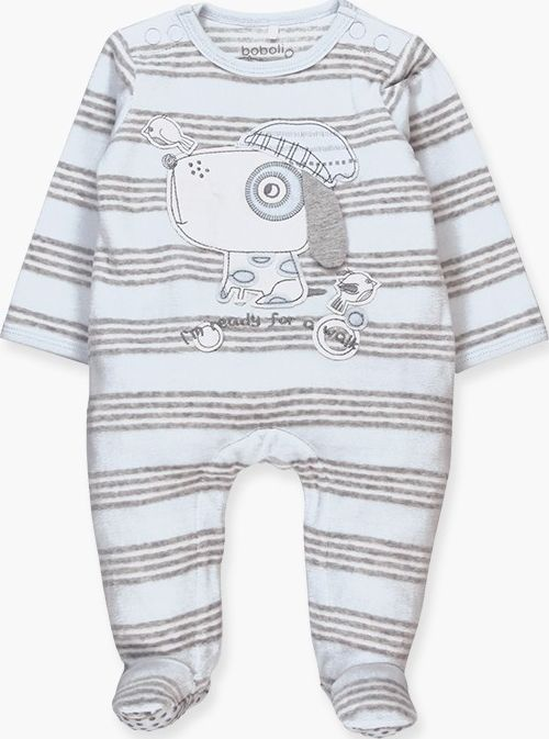 Boboli 17104072-9531 Velour play suit for boy in sky blue with grey stripes, the