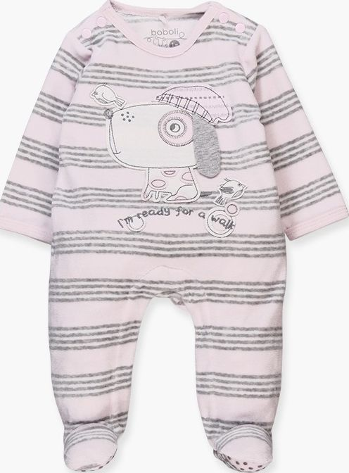 Boboli 17104072-9532 Velour play suit for girl in pink with grey stripes, the de