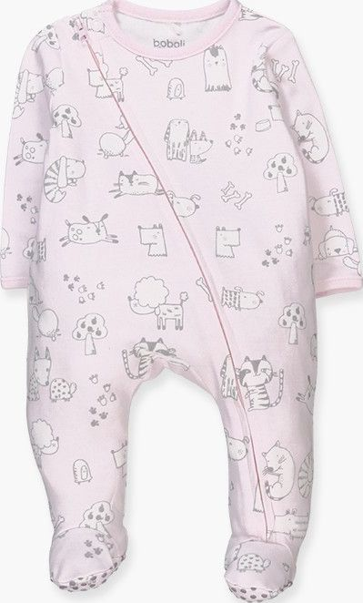 Boboli 17104083-9534 Interlock play suit for girl in pink with print of animals