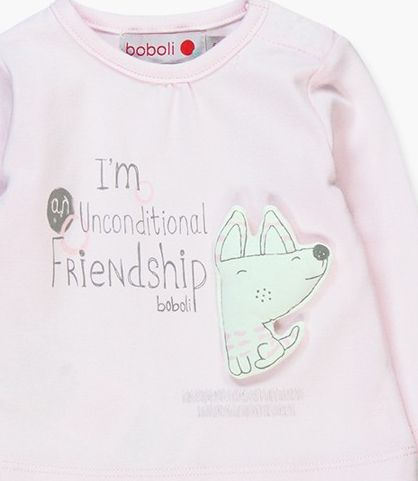 Boboli 17104117-3000 Interlock t-shirt for girl in pink with embroidery applied