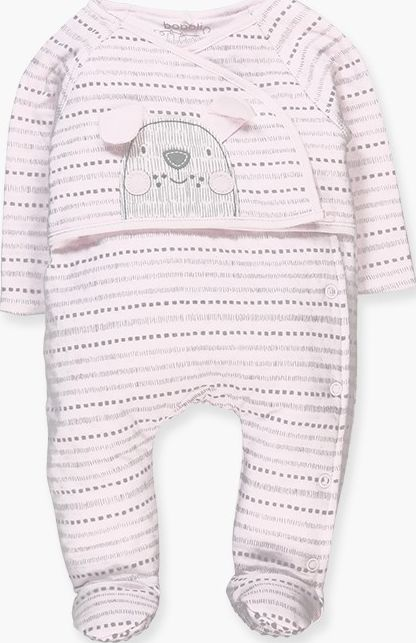 Boboli 17104139-9528 Knit play suit for girl in pink with grey stripes. The deco