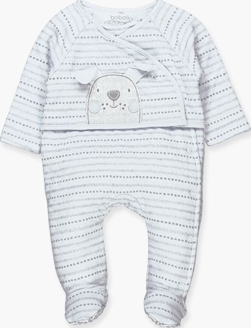 Boboli 17104139-9529 Knit play suit for boy in sky blue with grey stripes. The d