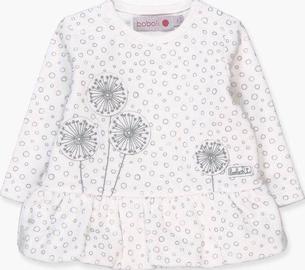 Boboli 17104151-9530 Velour dress for girl in off white with print of cirles, it
