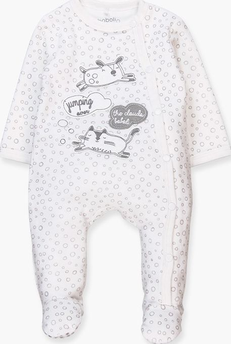 Boboli 17104173-9530 Velour play suit unisex in white and print of grey cirlces,
