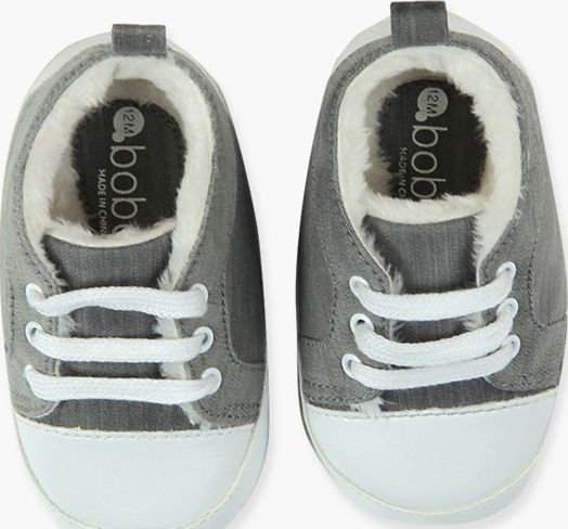 Boboli 17104252-GREY Denim shoes for boy in grey with white soles. Brand detail