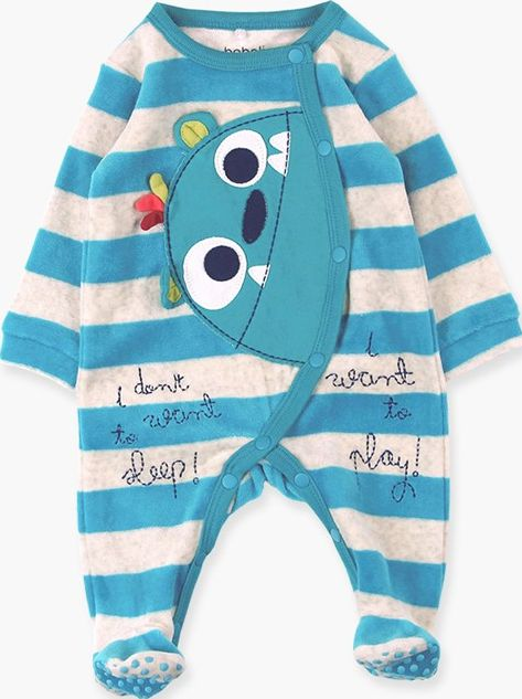 Boboli 17134121-9548W Velour play suit unisex striped in turquoise and ecru, it