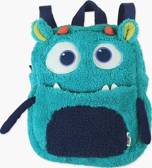 Boboli 17134211-2381 Fur backpack for boy with 2 pockets, in turquoise with deta