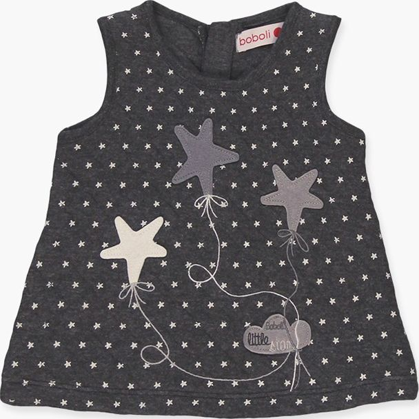 Boboli 17144098-9551 Knit dress for girl in grey vigore with print of dots, it i