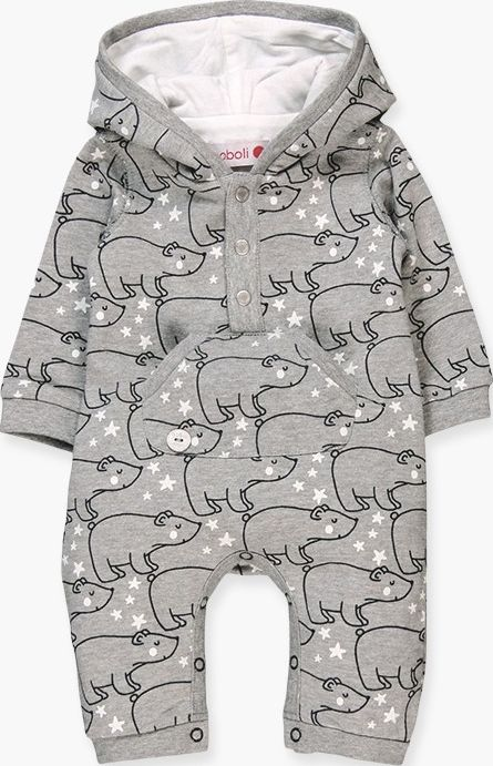 Boboli 17144122-9550 Fleece play suit for boy with hood and print of bears in gr