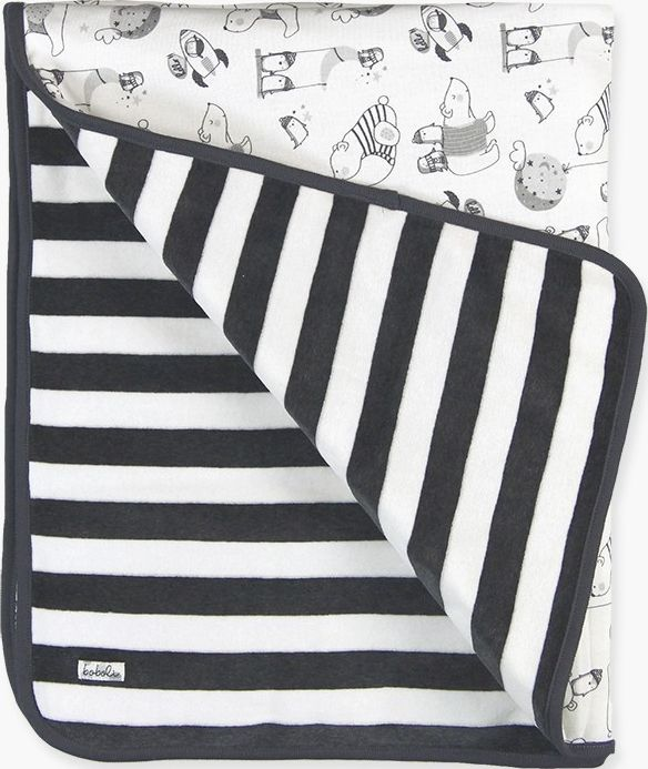 Boboli 17144177-9553 Velour blanket unisex, on one side velour striped and on th
