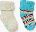 Boboli 17194004-7268 Pack 2 socks terry towelling unisex. 1- turquoise socks wit
