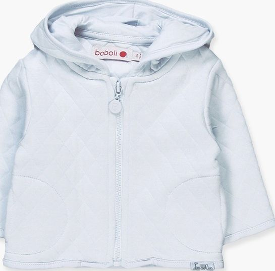 Boboli 17194015-2000 Knit jacket for boy in sky blue, hood is lined in knit in s