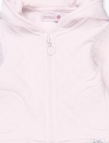 Boboli 17194015-3000 Knit jacket for girl in pink, hood is lined in knit in same