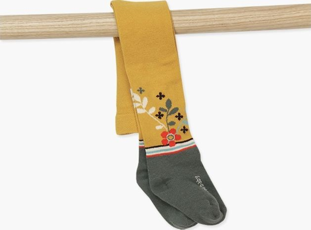 Boboli 17214030-1103 Tights in mustard colour with jacquard of flowers and leave