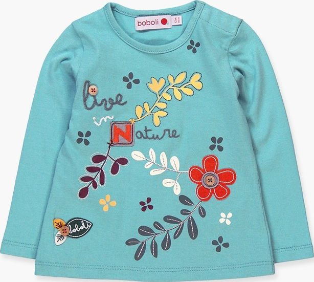 Boboli 17214074-2380 Knit t-shirt for girl in fog colour. The decoration is a pr