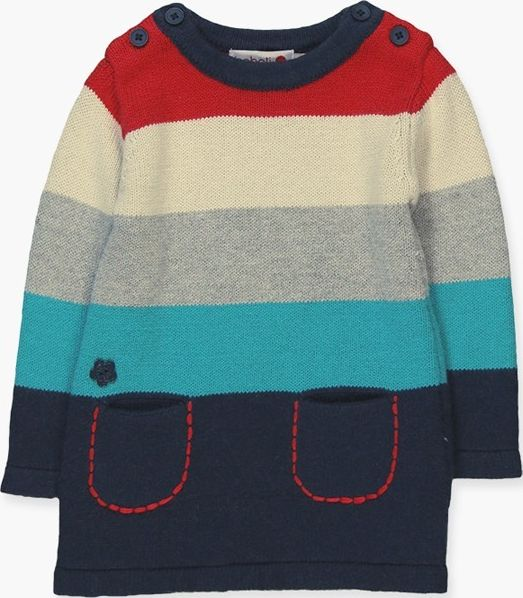 Boboli 17224031-2332 Knitwear dress for girl striped in various colours, it clos