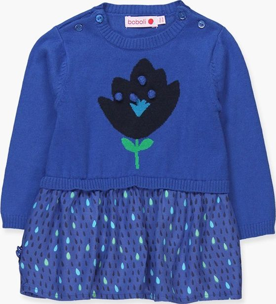 Boboli 17234032-2389 Knitwear dress for girl in blue combined with viscose skirt
