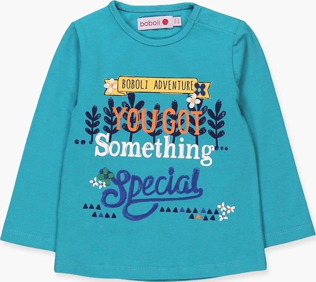 Boboli 17234054-4397 Stretch knit t-shirt for girl in pacific colour. The decora
