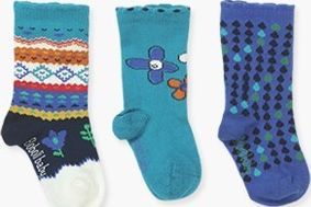 Boboli 17294027-4397 Pack 3 socks for girl. 1- socks in colour pacific with jacq