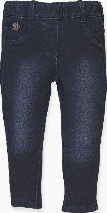 Boboli 17294049-BLUE D. Fleece denim trousers for girl in colour blue dark, fron