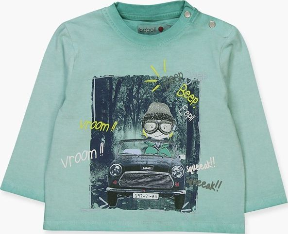 Boboli 17304018-4394 Knit t-shirt for boy in colour aquarius, the decoration is
