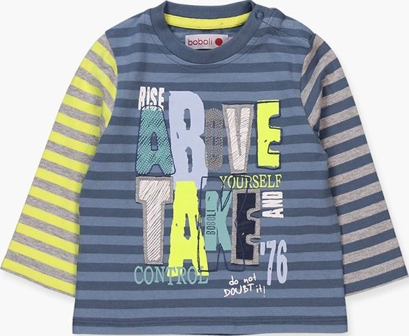 Boboli 17304041-9591 Knit t-shirt for boy striped in various colours, the decora
