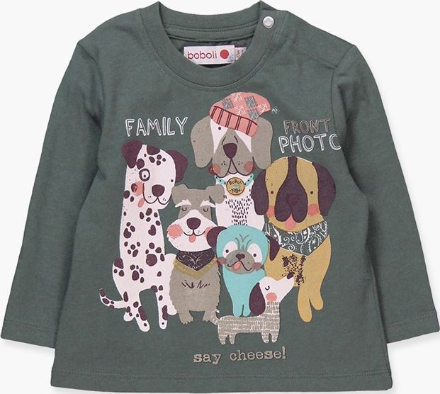Boboli 17314019-4396 Knit t-shirt for boy in colour eucalyptus, the decoration i