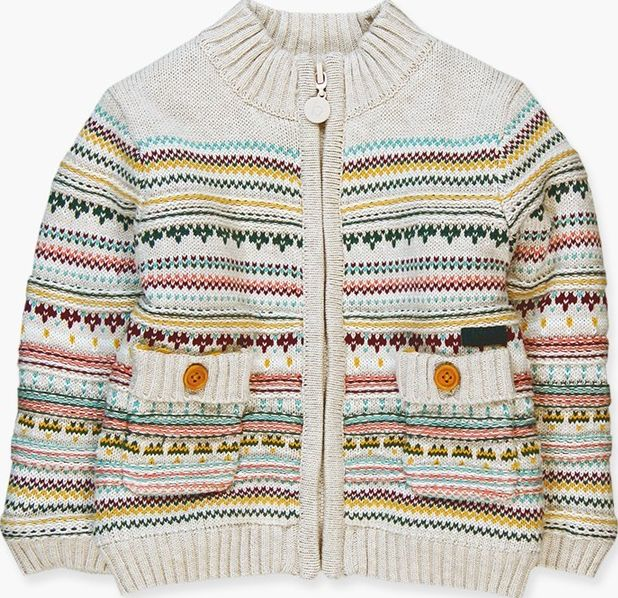 Boboli 17314109-7294 Knitwear jacket for boy in colour beige vigore with jacquar