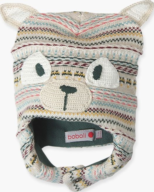 Boboli 17314121-7294 Knitwear hat for boy in colour beige vigore with details ap