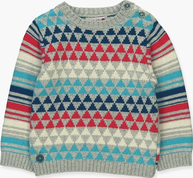 Boboli 17324009-8034 Knitwear pullover for boy in colour grey vigore combined in