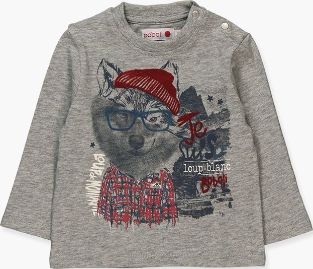 Boboli 17324010-8034 Knit t-shirt for boy in colour grey vigore, the decoration
