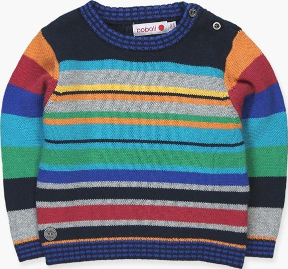 Boboli 17334000-2440 Knitwear pullover for boy in colour navy combined in variou