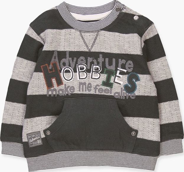 Boboli 17344034-9609 Knit t-shirt for boy striped with grey tones, the decoratio