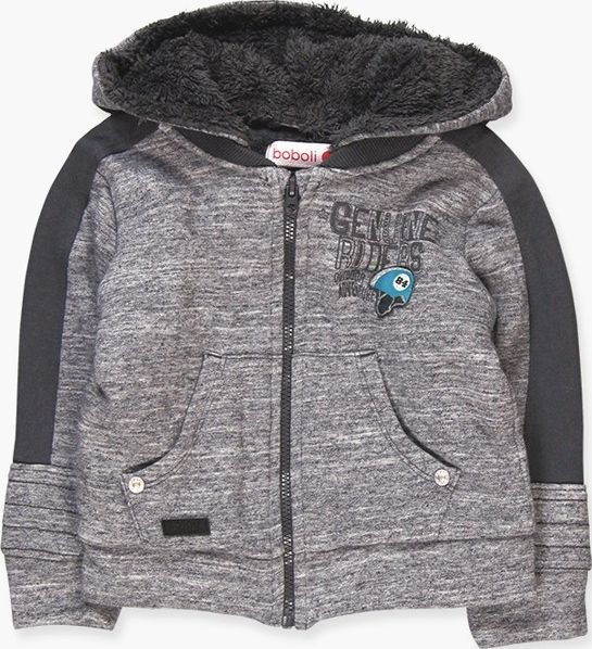 Boboli 17344146-8081 Fleece jacket bicoloured with hood in ice vigore, lined in