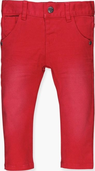 Boboli 17394039-3548 Stretch denim trousers for boy in colour red, the waist is