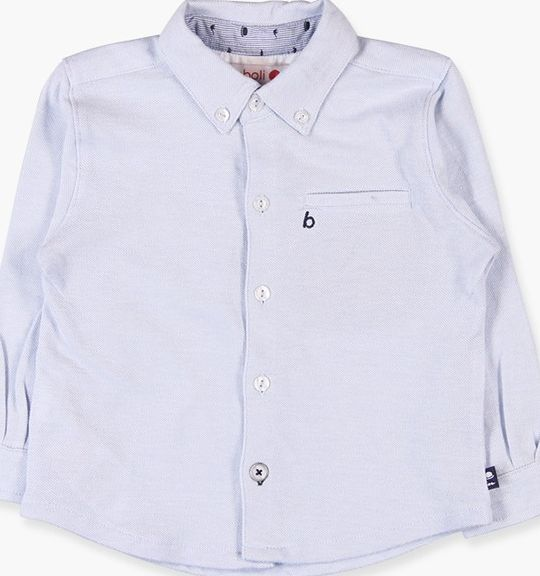 Boboli 17714002-2379 Piqué oxford shirt for boy with long sleeves in colour blu