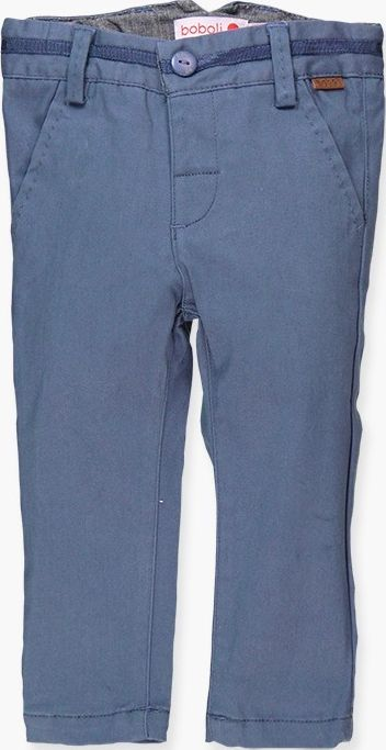 Boboli 17714057-2378 Stretch satin trousers for boy in colour overseas blue, the