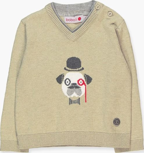 Boboli 17714103-7311 Knitwear pullover for boy in colour beige with jacquard in