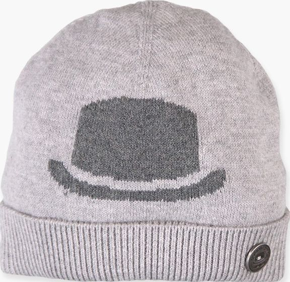 Boboli 17714147-8034 Knitwear hat for boy in colour grey vigore with jacquard in