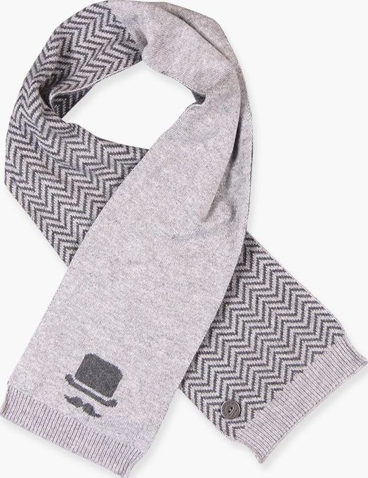 Boboli 17714158-8034 Knitwear scarf for boy in colour grey vigore with jacquard