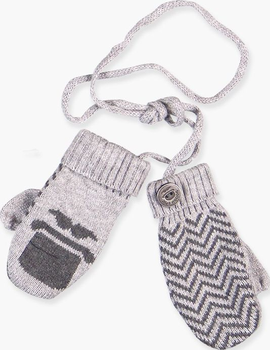 Boboli 17714169-8034 Knitwear mittens for boy in colour grey vigore with jacquar