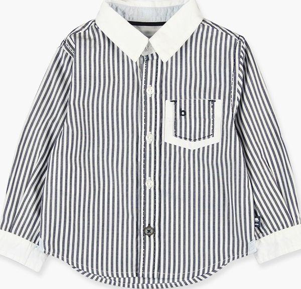 Boboli 17714181-9511 Poplin shirt with long sleeves for boy striped, the collar